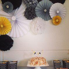 Party men/ fiesta / decoración de fiesta/ fiesta blanco y negro/ fiesta blanco, negro y amarillo
