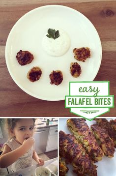 {Falafel Bites} 1 can organic chickpeas 1 cup chopped parsley 2 cloves garlic 1/2 red onion 1/2 c parmesan  1 tsp garlic pwdr 1 tsp cumin 1tbsp olive oil  Preheat oven to 350.  Combine all ingredients in food processor until chunky.  Form into sticks on baking sheet lined with parchment.   Bake 10 minutes on each side.  Eat with Tzaziki