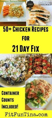If you're looking for chicken inspiration, here are 50+ 21 Day Fix Recipes to get you started (container counts included). For more 21 Day Fix Resources and recipes, head to http://www.FitFunTina.com