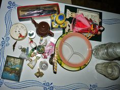 Vintage Estate junk drawer lot collectible MCM Silverware Plates China Doll 8