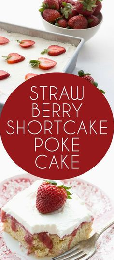 Your ultimate low ca  Your ultimate low carb summer strawberry dessert. A shortcake and a poke cake in one! Make it with THM Baking Blend or almond flour.