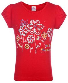 Trendy Short Sleeves Flower Red Colored Printed Top From Tango @ Rs 129