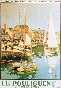 """Affiche retro vintage de 1925, de Charles HALLO - """"Le Pouliguen (port de la Baule)"""" - Chemins de fer Paris_Orléans_Midi"""