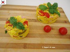 Sformatini di insalata di riso basmati con peperoni prosciutto cotto e scamorza