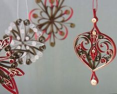Decoration name: Dewdrop. This decoration is handmade with paper, eco-friendly, water based glue and strung with Paper Quilling Tutorial, Paper Quilling Patterns, Quilled Paper Art, Quilling Paper Craft, Paper Crafts, Paper Christmas Decorations, Paper Ornaments, Christmas Paper, Christmas Crafts