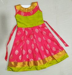 Beautiful pink and green party gown for little Princess www. Kids Party Wear Dresses, Kids Dress Wear, Baby Girl Party Dresses, Kids Gown, Little Girl Dresses, Girls Frock Design, Baby Dress Design, Baby Girl Frocks, Frocks For Girls