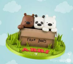 Little Cherry Cake Company - Kids Cakes. We bare bears cake. Cutest cake I've seen in a long time Cupcake Cake Designs, Cupcake Cakes, Cake Company, Movie Cakes, Biscuit, Bear Theme, Cherry Cake, We Bear, Bear Party