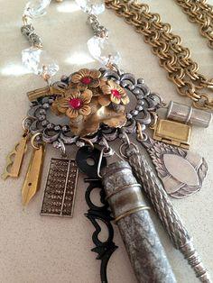 Vintage Necklace  Charm Necklace Steampunk Necklace by rebecca3030, $149.00