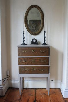 *** January Sale! Selected Items REDUCED to make way for new finds in 2017! Was £295 NOW £225 ***  The thing I loved about this cabinet was its useful size and all the original features which make it quite unique. It just needed some TLC to bring it back to life! I painted the body with Grand Illusions Chalk Paint in Pastille - a soft mulberry grey colour. This I have sealed and waxed giving it a burnished and durable finish.  I chose to leave the beautiful wood on the drawers as I like the…