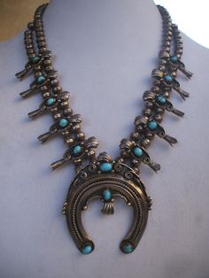 Singed ALICE LONG Vintage NAVAJO Sterling Silver Turquoise SQUASH BLOSSOM NECKLACE