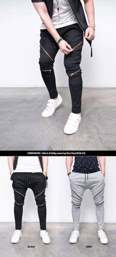 Gold Open Slant Zip Seaming Baggy Biker-Sweatpants 280 by Guylook.com