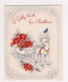 Vintage Christmas Card. Greetings Card. Reindeer. Deer. Bluebird. Sleigh. | eBay vintage vic