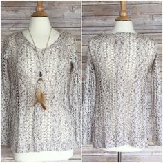 """Ivory rust sheet crochet sweater XS Ivory rust sweater   Sz XS bust 34-36 Sleeve 28""""  Acrylic nylon blend  Excellent quality   Sheer crochet  NWT necklaces are NOT included Boutique label Sweaters"""