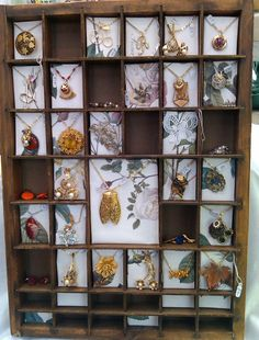 I'm really interested in type drawer shelves and a way to display collections... I would start collecting stuff just so I could have such a display. Vintage necklaces would be a good start! These are from http://www.frillybylily.co.uk/