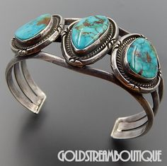 VINTAGE NAVAJO STUNNING AMERICAN TURQUOISE 3 STONE STERLING SILVER CUFF BRACELET