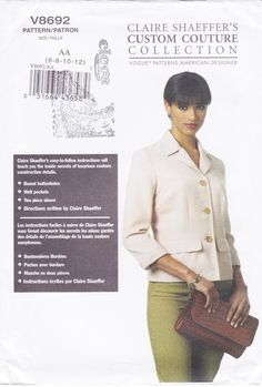 Vogue 8692 Claire Shaeffer Jacket