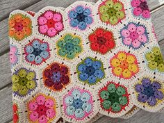 African flowers crochet made with hand dyed cotton yarn = love the colours with white