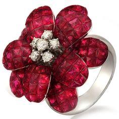 18K Flower Ruby and Diamond Ring