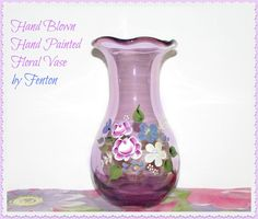 Vintage Hand Blown and Painted Amethyst Vase by GrammysGoodys, $14.00