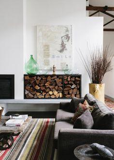 Cheminée : comment ranger ses bûches , salon au style cosy et cocooning , fire place