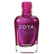 Zoya Nail Polish in Anaka - Vibrant purple-toned deep fuchsia-pink with reflective hot pink shimmer and gold microglitter.