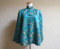 Turquoise Dream Vintage 1940s Chinese Brocade by LolaAndBlack