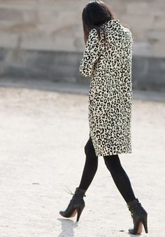 Black and white leopard coat.  Need to find one! Love this look! Me too! I have short brown/black/gray one but long would be fab!
