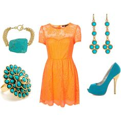 orange dress and turquoise, created by nataliesouth on Polyvore
