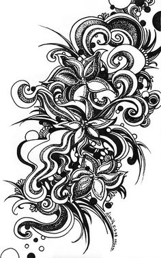 Flowers, black and white doodle, pen and ink by dj smith Zentangle Drawings, Abstract Drawings, Zentangle Patterns, Doodle Drawings, Doodle Art, Zentangles, Black And White Doodle, White Ink, Pencil Drawings Of Girls