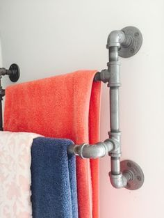Pipe towel rack DIY for small bathroom - The Style Sisters