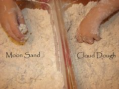 3 cups corn starch 1.5 cups cold water 6 cups flour Mix the cornstarch into the cold water until smooth(ish). Add one cup of flour and mix in. Repeat until all the flour is added to the mixture. It is very similar to the store bought moon sand ~Safe for Ben!