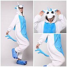 Cute Blue Unicorn Adult Coral Fleece Kigurumi Pajamas Animal Sleepwear
