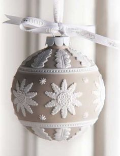 Wedgwood 2013 Neoclassical Ball Ornament - saw this baby in Kirkaldie & Stains Dec 2014 - just beautiful Noel Christmas, Diy Christmas Ornaments, Christmas Colors, Christmas Makes, Handmade Christmas, White Christmas, Christmas Decorations, Elegant Christmas, Polymer Clay Ornaments