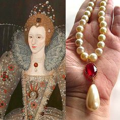 Tudor Pearl Necklace, Tudor Ruby Necklace, Elizabethan Necklace, Queen Elizabeth Necklace, Elizabethan Pearl Necklace, Ruby Pendant Necklace