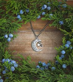 i love you to the moon and back necklac with initial and birthstone by www.nelleandlizzy.com