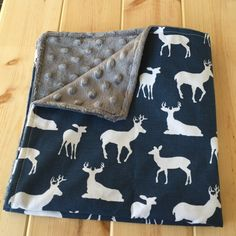 Deer print baby blanket by InfantOutfiters on Etsy