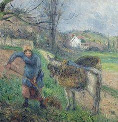 """Camille Pissarro (1830-1903) - """"Pontoise, Paysanne avec un Âne"""" 1877 (Détail) - Huile sur Toile originale 46x55 cm"""