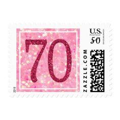 Pink glitter seventieth 70th birthday party postage  $24.90  by TheStationeryShop  - custom gift idea