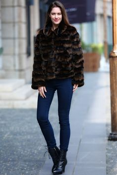 @roressclothes closet ideas #women fashion outfit #clothing style apparel Dark Brown Faux Fur Coat