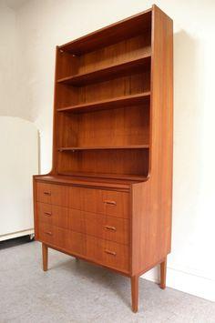 Mid Century Danish Modern teak desk bookcase by ModernFlairHome, $1250.00