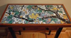 Song Birds private commission 14 x 28 inches mosaic table © 2002 by Artist Therese Desjardin Studio Kitchen Mosaic, Mosaic Pots, Mosaic Diy, Mosaic Garden, Mosaic Glass, Mosaic Tiles, Stained Glass, Glass Garden, Glass Art