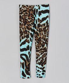 Loving this Blue Leopard Leggings - Girls on #zulily! #zulilyfinds