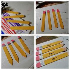 Craft Stick Pencil Bookmarks steps by CraftsbyAmanda.com