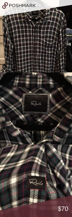 RAILS Men's rails flannel shirt. I bought this for my husband size L and it didn't fit him he really needed a size XL. Great condition like new! Worn once:-) Rails Shirts Casual Button Down Shirts