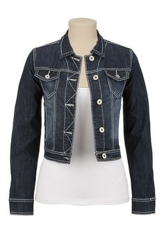 Just got this to go with some of my dresses. White Stitch Denim Jacket available at #Maurices