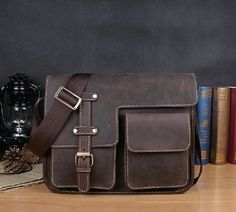 leather messenger bag / Leather satchel/ handmade leather bag/ leather shoulder bag/ backpack / Dark brown on Etsy, $83.00