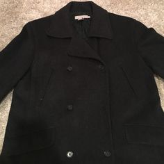 J Crew Pea Coat Charcoal grey Peacoat from J Crew. Middles button fell off but it's in the pocket and can easily be sown back on.  Wore this coat a few times but it never fit me right. J. Crew Jackets & Coats Pea Coats