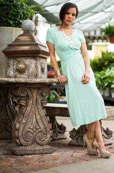 Lilian Mint Modest Dress by Mikarose, Modest doesn't mean frumpy. Dressing with Dignity! http://amzn.to/1qeVHv9