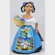 Lupita Doll Basket of Toys Espanola Celeste Dress Ceramic Mexican Mexican Ceramics, Ceramic Figures, Mexican Folk Art, Doll Toys, Art Dolls, Basket, Pottery, Disney Princess, Collection