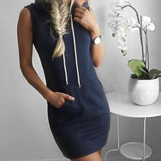 b949c7500c8 Women Sleeveless Tank Dress Hoody Tops Blouse Tee Shirt Mini Dresses Short  Sundress Casual Sweatsuit - Walmart.com